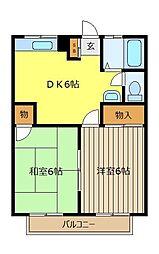 埼玉県富士見市鶴馬1丁目の賃貸アパートの間取り