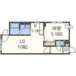 北海道札幌市中央区南十九条西9の賃貸マンションの間取り