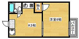 京都府京都市伏見区深草直違橋南1丁目の賃貸アパートの間取り