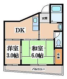 OKハイツ6号館[1階]の間取り