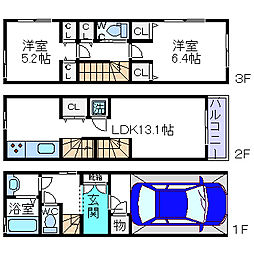 [タウンハウス] 大阪府三島郡島本町山崎4丁目 の賃貸【/】の間取り