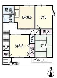 ハイステージ江島B[2階]の間取り