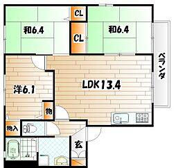 コモンシティ志井II E棟[1階]の間取り