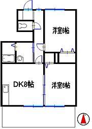 兵庫県姫路市広畑区東新町2丁目の賃貸アパートの間取り