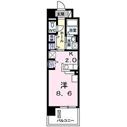 阪急京都本線 上新庄駅 徒歩5分の賃貸マンション 4階1Kの間取り