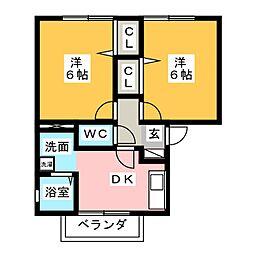 エスポワールK 2階2DKの間取り