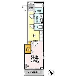 広島県東広島市西条岡町の賃貸アパートの間取り