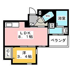 クリスタルテラス本山 4階1LDKの間取り