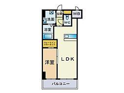 サリナス大名弐番館 4階1LDKの間取り