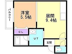 Urban Place 2nd(アーバンプレイスセカンド) 2階1LDKの間取り