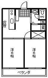 スカイハイツ松山[102号室]の間取り