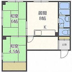 北海道札幌市豊平区平岸一条5丁目の賃貸マンションの間取り