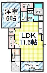 長野県長野市屋敷田の賃貸アパートの間取り