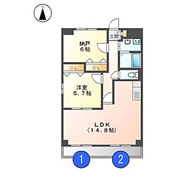 ユーソシア[3階]の間取り