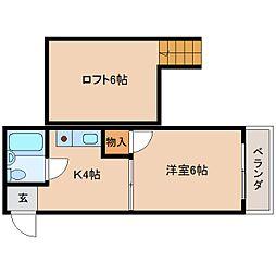 近鉄天理線 天理駅 徒歩5分の賃貸マンション 4階1Kの間取り