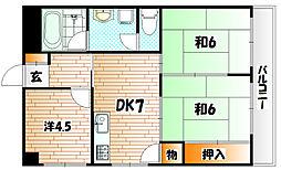 サンシャインビル黒崎[602号室]の間取り