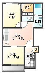 JR赤穂線 邑久駅 徒歩11分の賃貸アパート 1階2DKの間取り