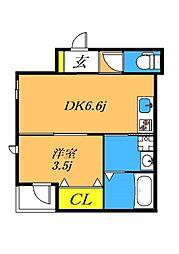 目黒本町5丁目新築 2階1DKの間取り