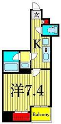 東京メトロ日比谷線 入谷駅 徒歩1分の賃貸マンション 8階1Kの間取り