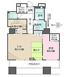 東京パークタワー 23階1LDKの間取り