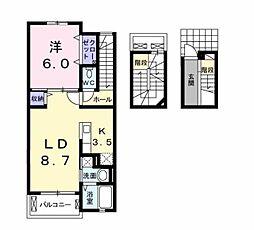 JR博多南線 博多南駅 徒歩18分の賃貸アパート 3階1LDKの間取り