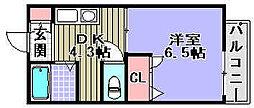 サンメイトB[B106号室]の間取り