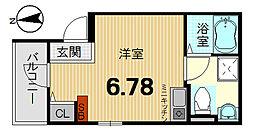 KYOTO HOUSE西寺 1階ワンルームの間取り