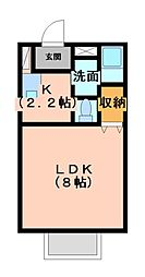 静岡県三島市壱町田の賃貸アパートの間取り