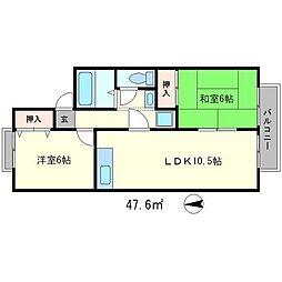 ラフロール桂川[1階]の間取り