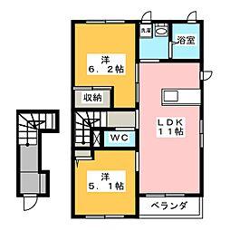 シャーメゾンクレセオI[2階]の間取り