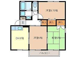 長野県長野市青木島町大塚の賃貸アパートの間取り