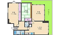 おおきに大阪天満サニーアパートメント 11階3LDKの間取り