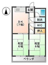 恵ハイツ南[2階]の間取り