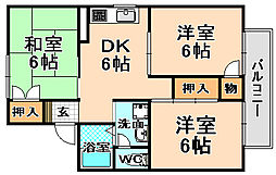 兵庫県伊丹市御願塚2丁目の賃貸アパートの間取り