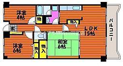 マンション ボーベール[1階]の間取り