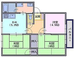 サンハイムA[203号室]の間取り