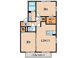 和歌山県和歌山市西庄の賃貸アパートの間取り
