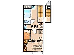 京都府京都市伏見区向島西堤町の賃貸アパートの間取り