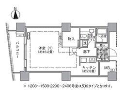都営大江戸線 汐留駅 徒歩4分の賃貸マンション 13階1Kの間取り