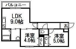 メニーズコートS25[1階]の間取り
