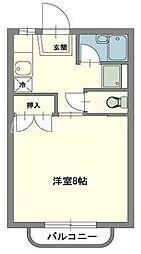 JR吉備線 備前三門駅 徒歩17分の賃貸マンション 2階1Kの間取り