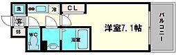 エスリード京橋セントラル 12階1Kの間取り