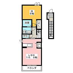 ウェスト フルールI[1階]の間取り
