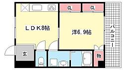 兵庫県神戸市灘区灘南通2丁目の賃貸マンションの間取り