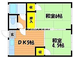 岡山県岡山市南区松浜町丁目なしの賃貸アパートの間取り