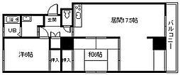 栄町ハイツ信和 4階2LDKの間取り
