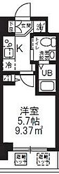 横浜市営地下鉄ブルーライン 新横浜駅 徒歩8分の賃貸マンション 2階1Kの間取り