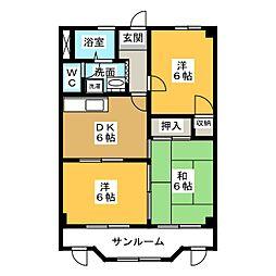 愛知県愛知郡東郷町白鳥2丁目の賃貸マンションの間取り