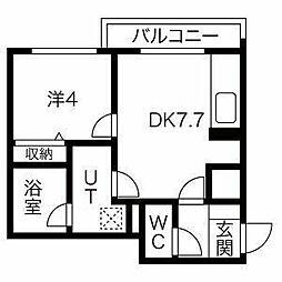 クオーレ 2階1LDKの間取り