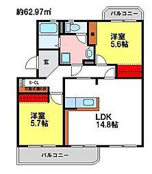 福岡県小郡市大板井の賃貸マンションの間取り